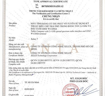 XELEX TABLE COMPUTER CERTIFICATE OF LEGAL CERTIFICATE OF THE MINISTRY OF INFORMATION – COMMUNICATION